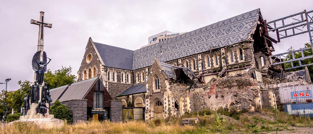 L'emblématique Cathédrale de Christchurch, en partie détruire suite aux tremblements de terre de 2011.