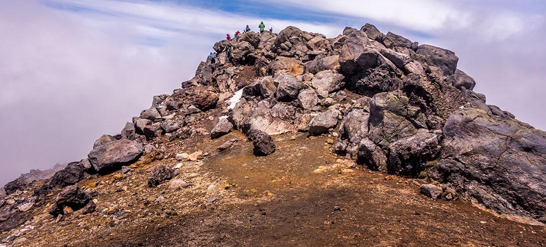 Sommet du Mont Tongariro, qui culmine à 1978m d'altitude.