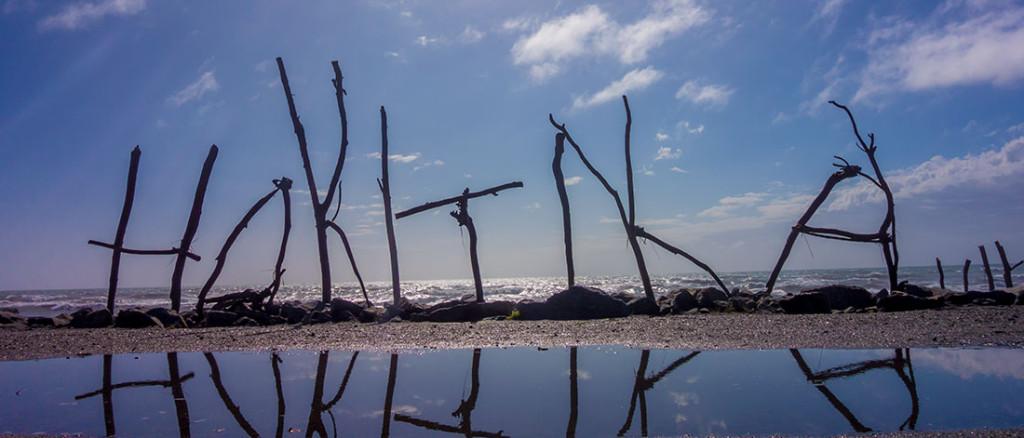 Sur la plage d'Hokitika